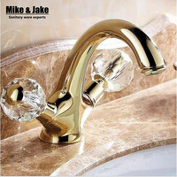 New Double handle crystal gold bathroom basin tap sink faucet water faucet Antique gold washbasin faucet