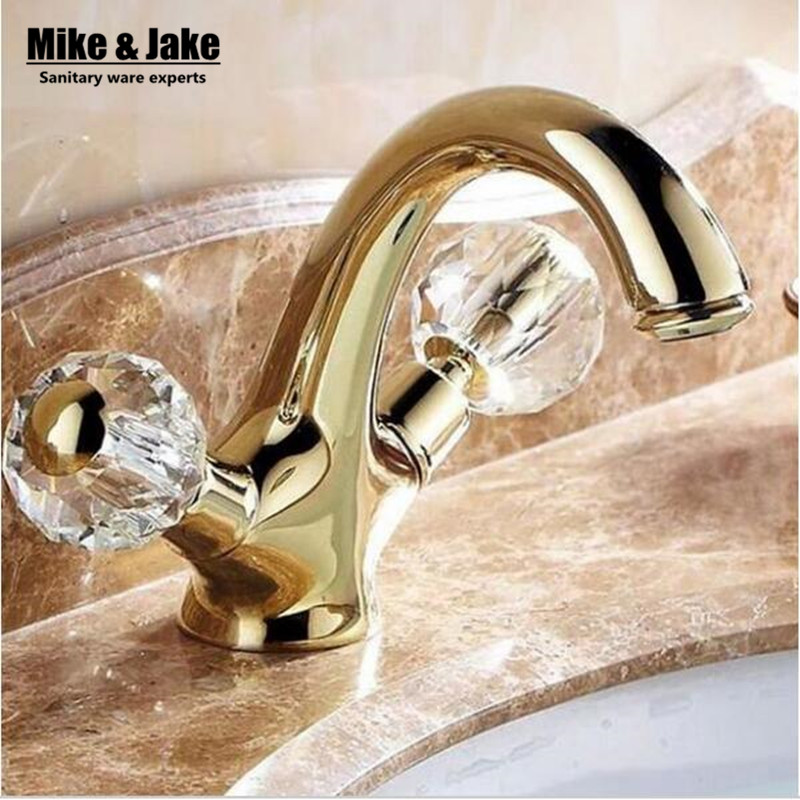 New double handle crystal gold bathroom basin tap sink - Gold bathroom faucets with crystal handles ...