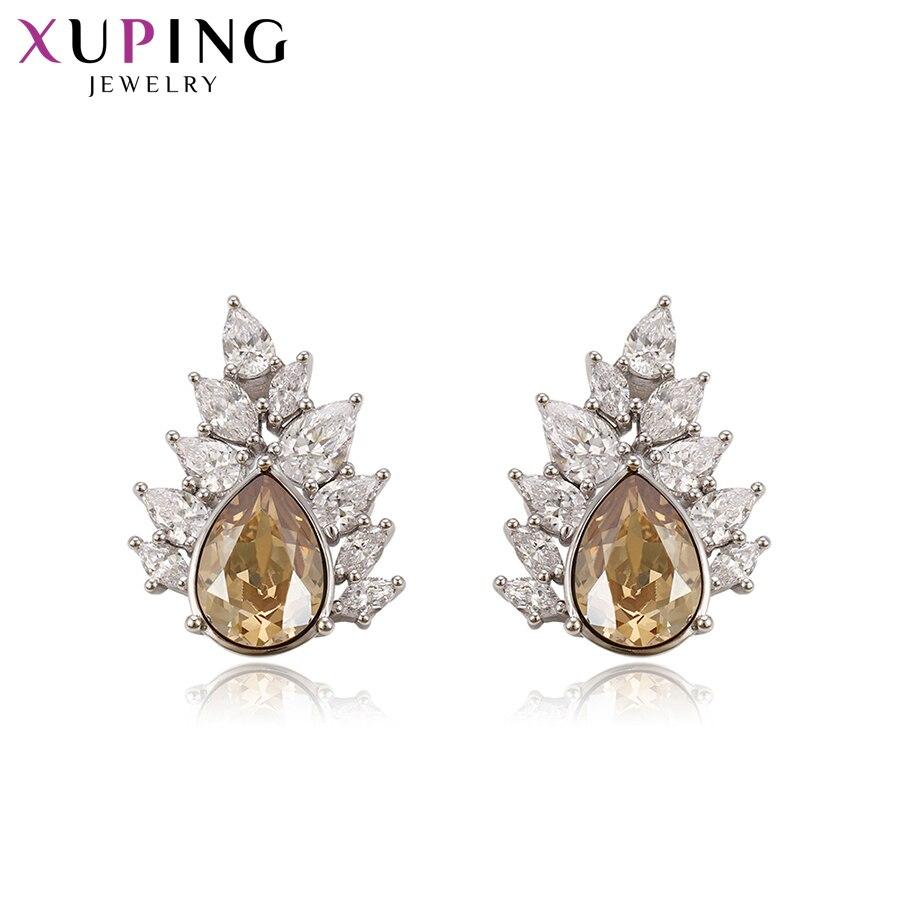 Xuping серьги гвоздики Прекрасные кристаллы от Swarovski Роскошные ювелирные изделия Красочные кленовый лист форма для женщин вечерние подарок S143