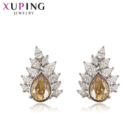 Xuping Studs Earrings Lovely Crystals from Swarovski Luxury Jewelry Colorful Maple Leaf Shape for Women Party Gift S143.5 93521
