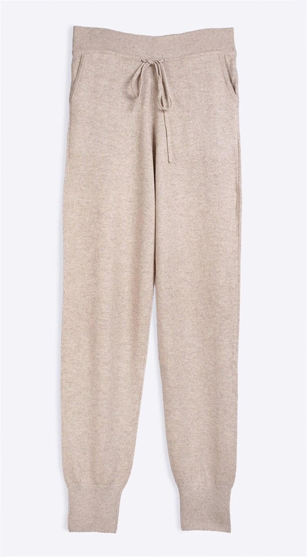 100% capra cashmere salotto delle donne pantaloni alla caviglia pantaloni di lunghezza elastico in vita con coulisse EU/M42-L44