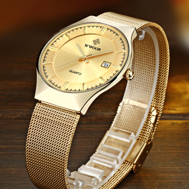 Image 2 - relogio masculino WWOOR  Gold Watch Men Ultra Thin Classic Male Wristwatch Business Golden Mens Watches Top Brand Luxury 2019-in Quartz Watches from Watches