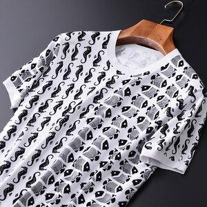 Image 2 - Minglu 100% Degli Uomini Del Cotone T Shirt di Lusso di Stile Ocean Stampato Lavorato A Maglia Mens T Shirt Più Il Formato 3XL 4XL Slim Fit Estate Uomo tee