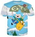 HipHop Homens Moda Camisetas 3D Adventure Time Impresso Rua Ocasional T Camisas Para Homem Frete Grátis Masculino Tshirts