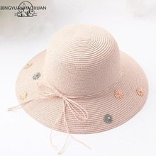 BINGYUANHAOXUAN Sun Hat Fashion Beach Parent-child Capeline Broad Straw Summer Female Protection Cap