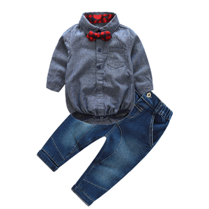 Image 2 - 2pcs/set newborn baby boy clothes gentleman grey rompers with bow + jeans baby boys clothing set