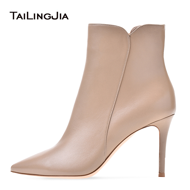 Women Pointy White High Heel Ankle Boots with Zipper Nude Heeled Booties Wine Short Boots Brown Heels Ladies Evening Dress Shoes