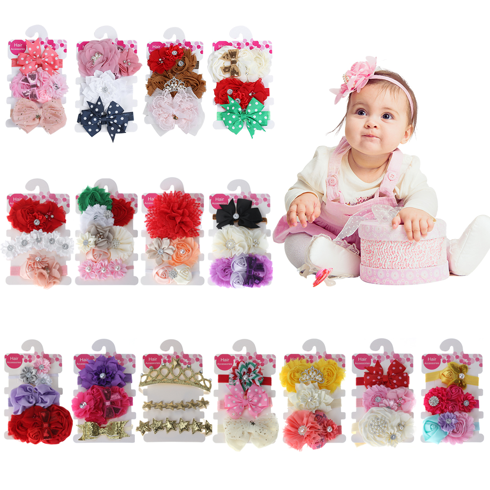 3 Pcs/Set Hair Bands Accessories Lovely Kids Girls Lace Flower Bowknot Pearl Rhinestone Hairband Tiara Headband lovely kids headband rhinestone pearl lace bow headbands kids hair bands hair accessories newborn photography props