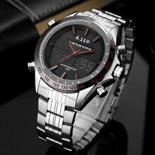 6 11 Sport Men Watch Led Display Stainless Steel Watch Mens Quartz Military Digital Watch Back