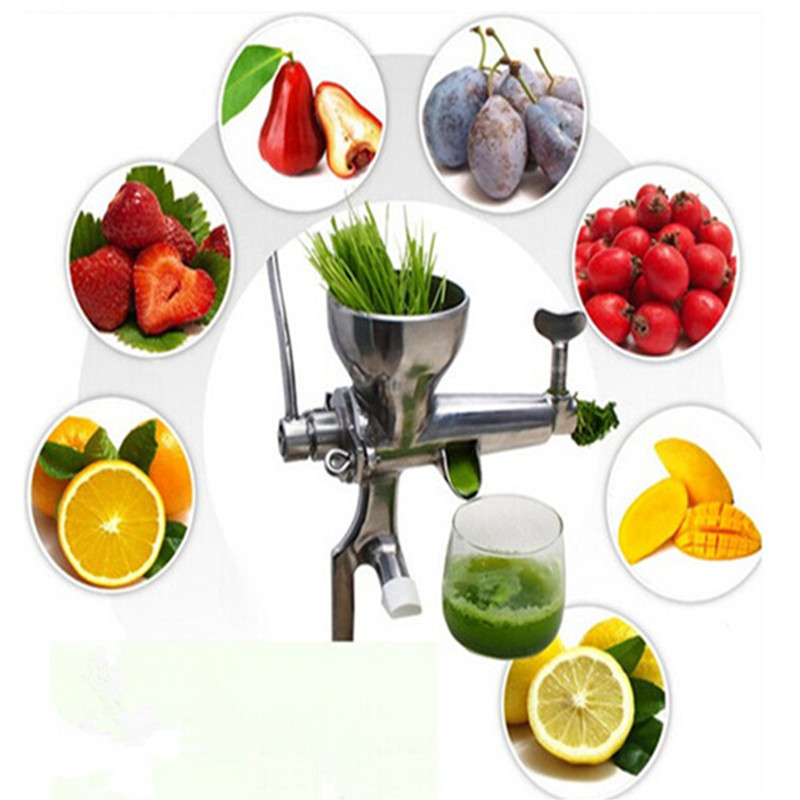 Stainless steel manual wheatgrass juicer healthy wheat grass juice extractor stainless steel hand wheatgrass juicer machine manual auger slow juice ideal for fruit vegetables orange juice extractor