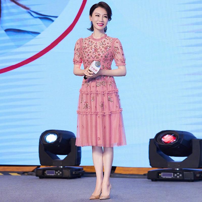 Qian Han Zi newest summer designer fashion runway dress Women s short sleeves Elegant Mesh Pink