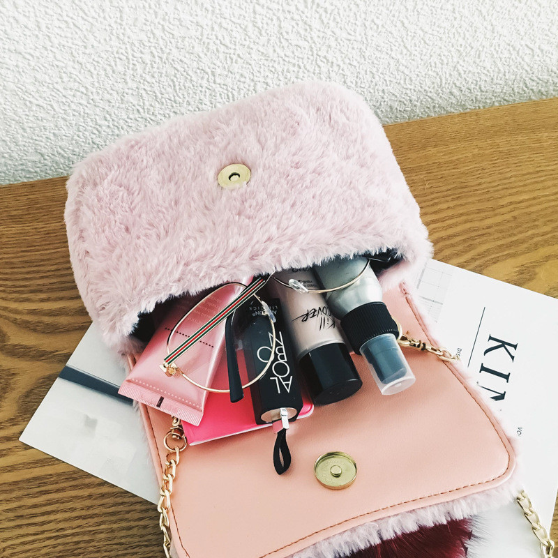 Female bag 2018 autumn and winter new color hair ball small square bag fashion fur rabbit fur small bag chain shoulder bag P#19 sailor moon the same type bag fashion small pure and fresh and candy color one shoulder inclined shoulder bag