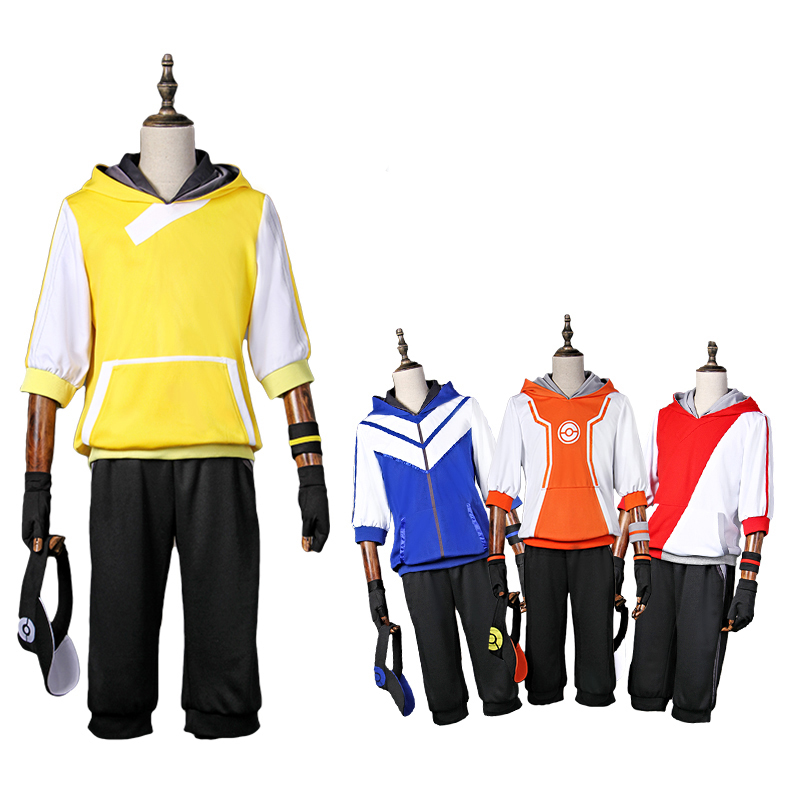 2017 Hot Game Pokemon Go Team Valor/Team Mystic/Team Instinct Trainers Cosplay Costumes Halloween Carnival Sport Suits Full Set