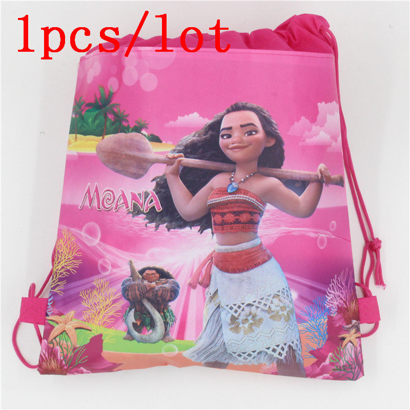1PClot Moana Theme Gift Bags Kids Favors Baby Shower Non-Woven Fabric Drawstring Backpack Party Decoration Birthday Supplies