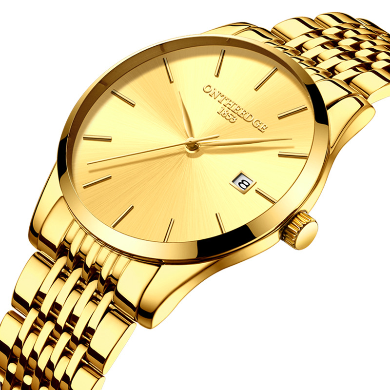 business mens wristwatches luxury gold stainless steel man watches 30m waterproof calendar men's watch ONTHEEDGE brand clocks luxury mens gold diamond stainless steel watches quartz calendar 30m waterproof man clocks luminous top brand original watch