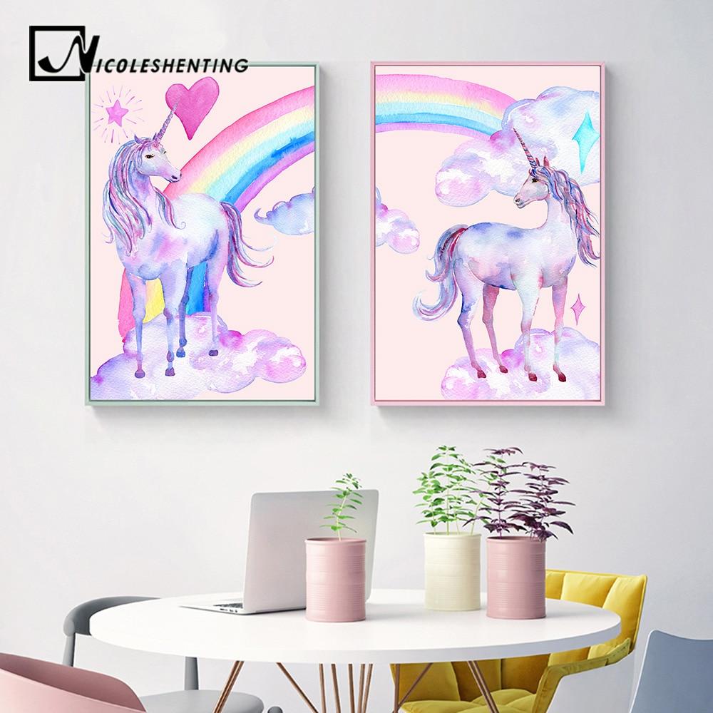 Rainbow Unicorn Posters Canvas Prints Watercolor Pegasus Painting Wall Art Decorative Picture Nordic Style Kids Decoration