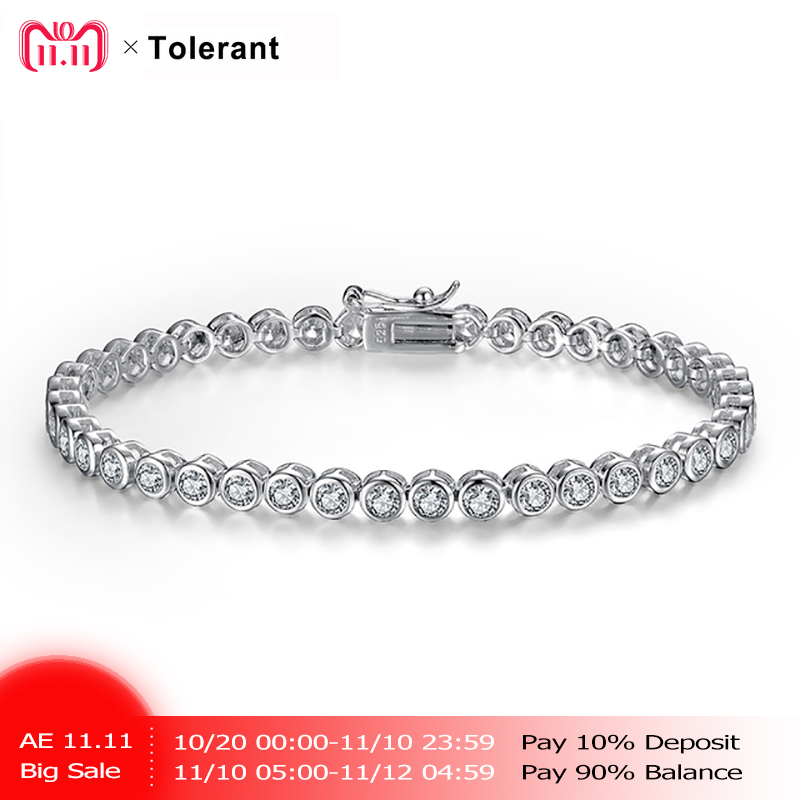 new bracelet femme 925 silver classic round 3A rhinestone plated pulseras mujer hand chain for wife mother friends CTS04569
