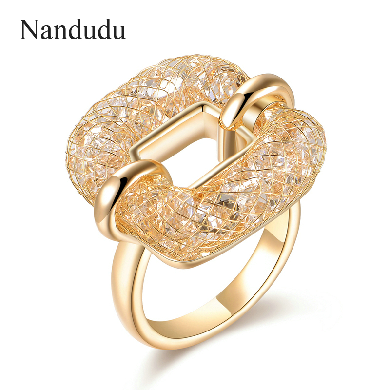Nandudu New Arrival Rose Gold Color Mesh Austrian Crystal Rings Women Girl Party Cocktail Ring Fashion Jewelry Gift R1218