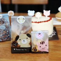 50PCS Cute Cartoon Dogs Cats Cookie Candy Bag Self Adhesive Plastic Bags For Biscuits Snack Baking