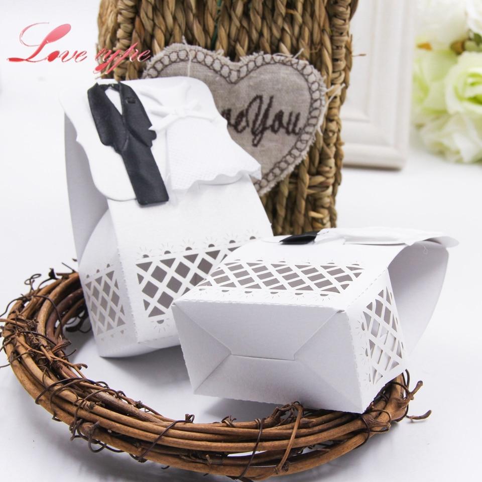 6PCS/Lot Bride& Groom Candy Pattern Gift Box Hollow Proces DIY Kraft ...