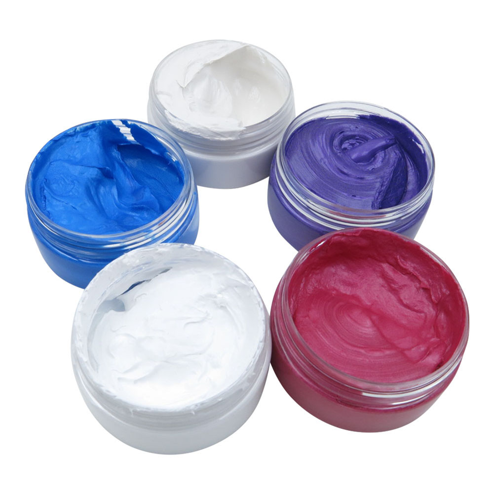 80g Hair Wax styling tools Disposable Hair Color Wax dye one-time molding paste Blue Red Grandma Gray White Purple Hair Dye Wax