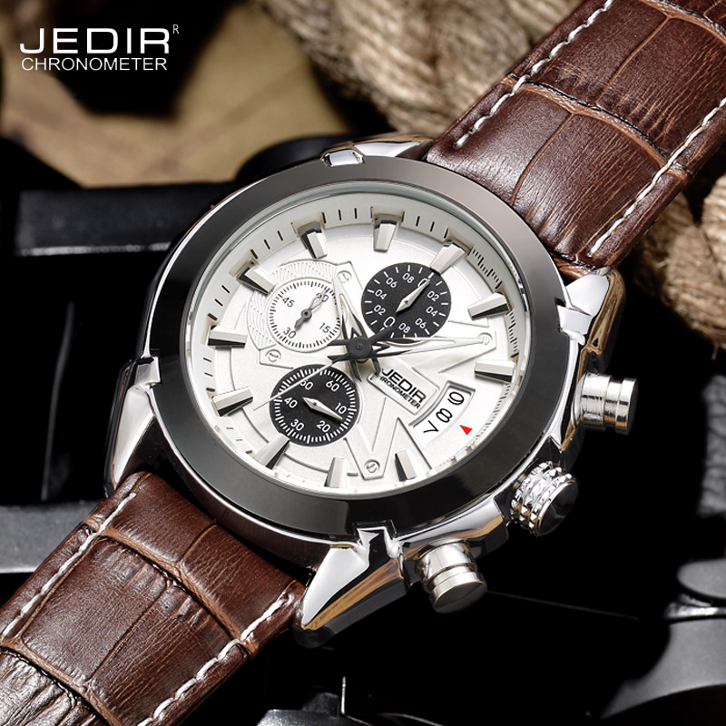 Watch Men Sport watches Chronograph Date military Quartz-Watch Mens clock Top Brand Luxury JEDIR Wristwatch Relogio Masculino jedir chronograph sport mens watches top brand luxury famous male clock quartz watch military leather relogio masculino gift box
