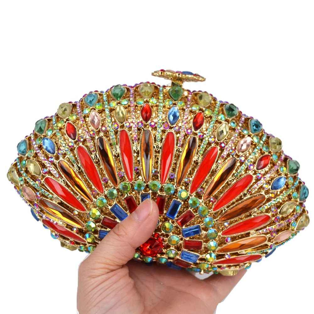 Colorful Reeded glass Fashion Crystal Red Crystal Bags Prom Purse Wedding Bridal Bags A33