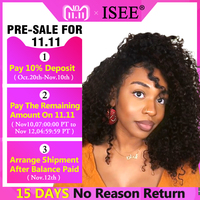 Brazilian Curly Human Hair Wig 13*4 Lace Frontal Pre Plucked 150% Density Natural Color ISEE HAIR Curly Lace Frontal Wigs
