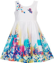 Солнечный Моды Девушки Платье Бабочка Ищет Цветок Вышивка Китайский Стиль Хлопок 2016 Лето Принцесса Свадьба Размер 4-12