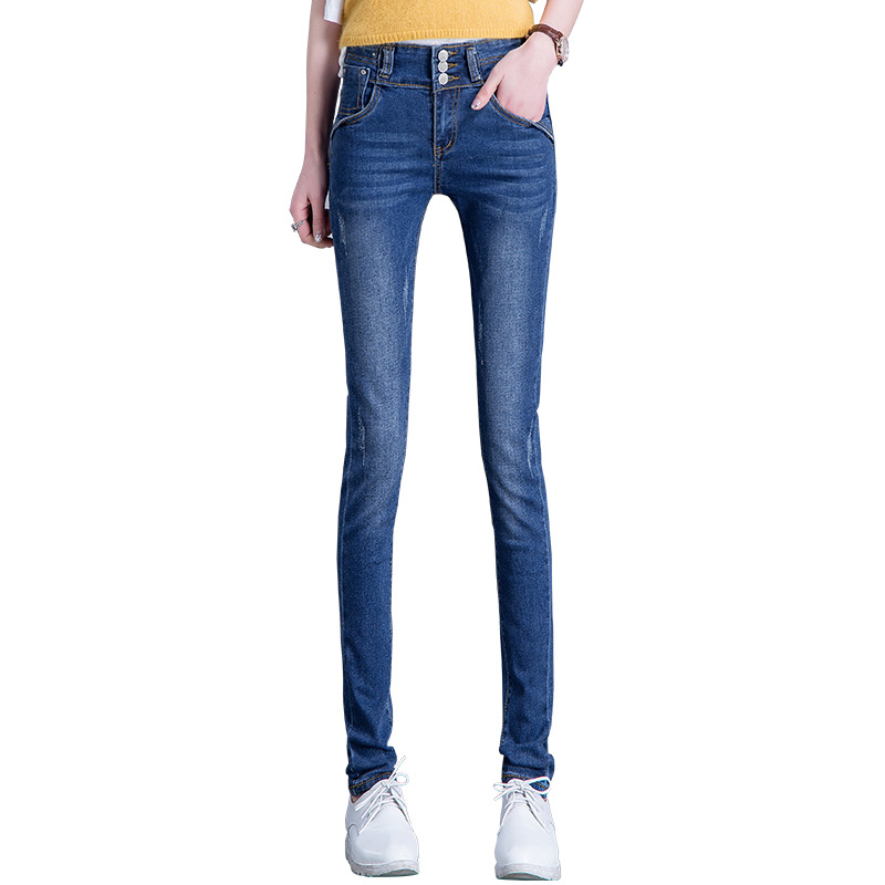 2017 AutumnTop New Hot Sale women  jeans Pencil Ripped Skinny Jeans Woman Fashion Slim Blue Low Waist Women's Slim Denim Pants hot sale skinny jeans woman spring new pencil jeans for women fashion slim blue jeans mid waist women s denim pants trousers