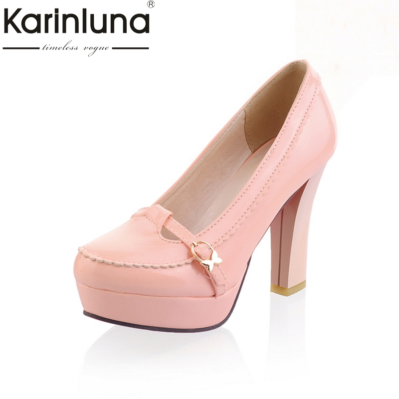 KARINLUNA New Spring Autumn Sweet Women Shoes Large Size 34-43 Mary Janes high heels Party Pumps shoes woman esveva 2017 women pumps mary janes spring autumn shoes square high heel pumps flock party wedding women shoes big size 34 43