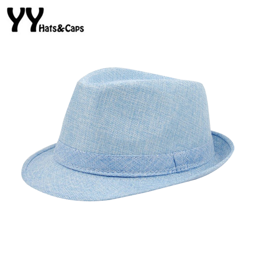 93b9220faa046 Sombreros de moda para las mujeres Fedora Beach Trilby gángster Cap Summer  Sol Lino Sombrero panamá con ribbow hombres Band Jazz Sol sombrero yy60163