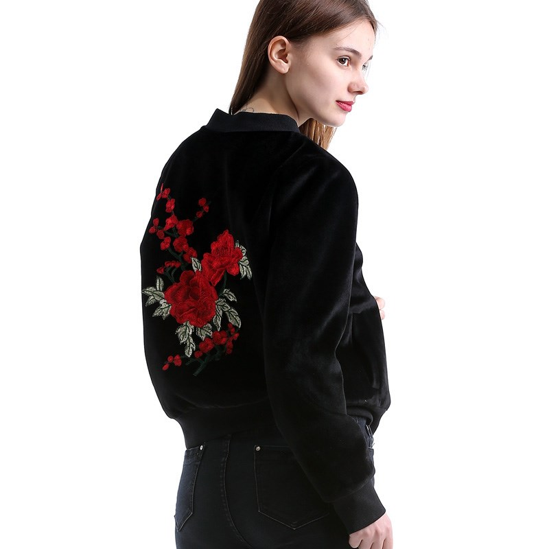 Women Embroidery Basic Jacket Coat Street Bomber Jacket Pockets Women Baseball Jackets