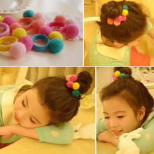 1 Pcs Girls Hair Clip Headband Hair Accessories Gift Fake fur pompom Ball Elastic Hair Band gum Ponytail Holder(China)