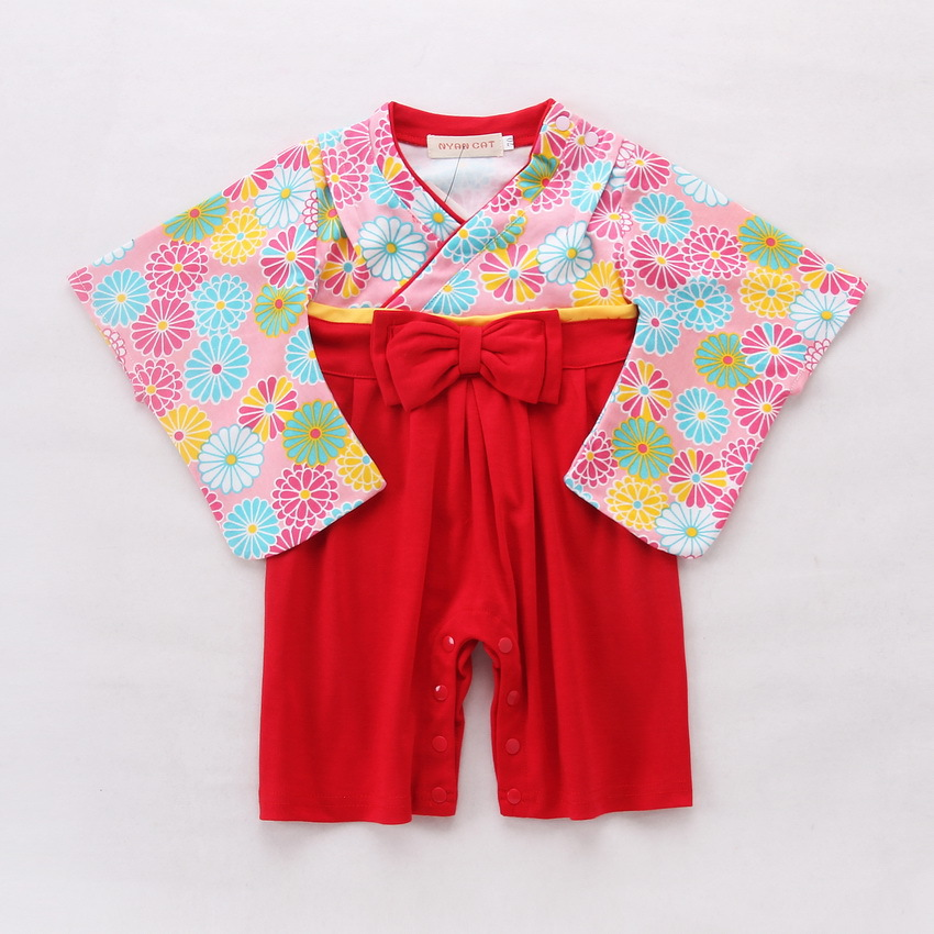 167ccd1d6 Buy Baby Romper Girls Floral Print Japanese Kimono Boys 2 PCS Cotton ...