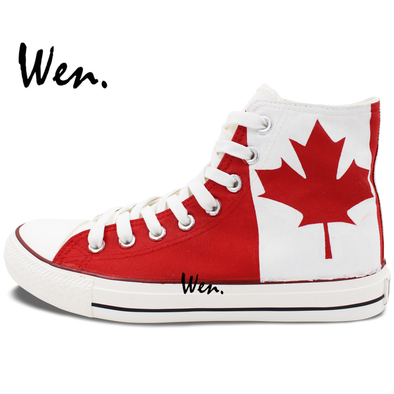 fa248d3410ec Wen Hand Painted Design Casual Shoes Canada Flag Maple Leaf High Top Non  slip Adult Canvas Sneakers Gifts for Men Women-in Men s Vulcanize Shoes  from Shoes ...