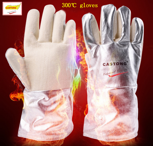 CASTONG 300 degrees high temperature gloves Para-aramid Aluminum foil fireproof gloves Insulation Anti-scalding protect gloves cpu cooling conductonaut 1g second liquid metal grease gpu coling reduce the temperature by 20 degrees centigrade