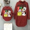 Новая Мода Семья Посмотрите Девушка И Мать Микки Мультфильм Плед Рубашка Семья Соответствующие Наряды Хлопок Сопоставления Семьи Рубашки