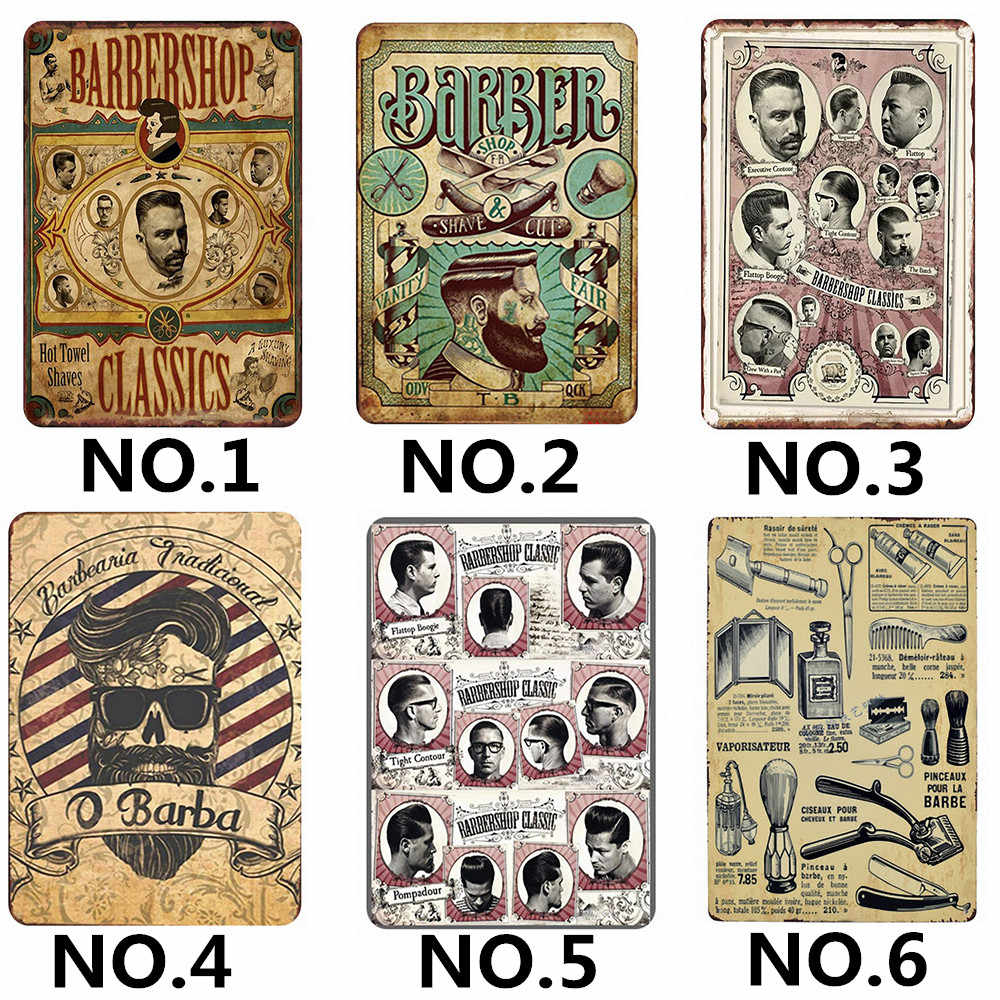 """Barber Shop"" 30X20 CM Retro Iron Painting Hairdresser Tattoos Patterned Wall Art Tin Sign Wall Pictures for Living Room"