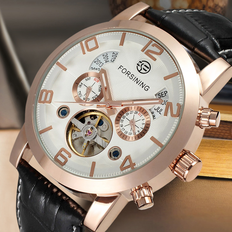 Fashion Automatic Business Watch for Men Multifonction Mechanical Wristwatches with Black Genuine Leather Band Gift Box gucamel automatic mechanical watch hollow out design genuine leather band for men