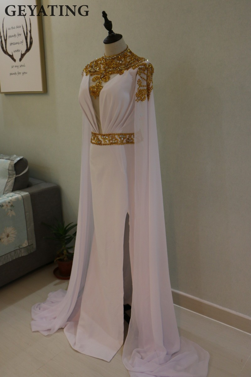 High Neck Evening Dress Long Prom Dresses 2018 Gold Beaded Side ...