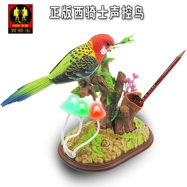 Около 25x19 см электрическая птица игрушки Голосового управления parrot toy with гриб СВЕТОДИОДНЫЕ фонари Рождественский подарок w6986