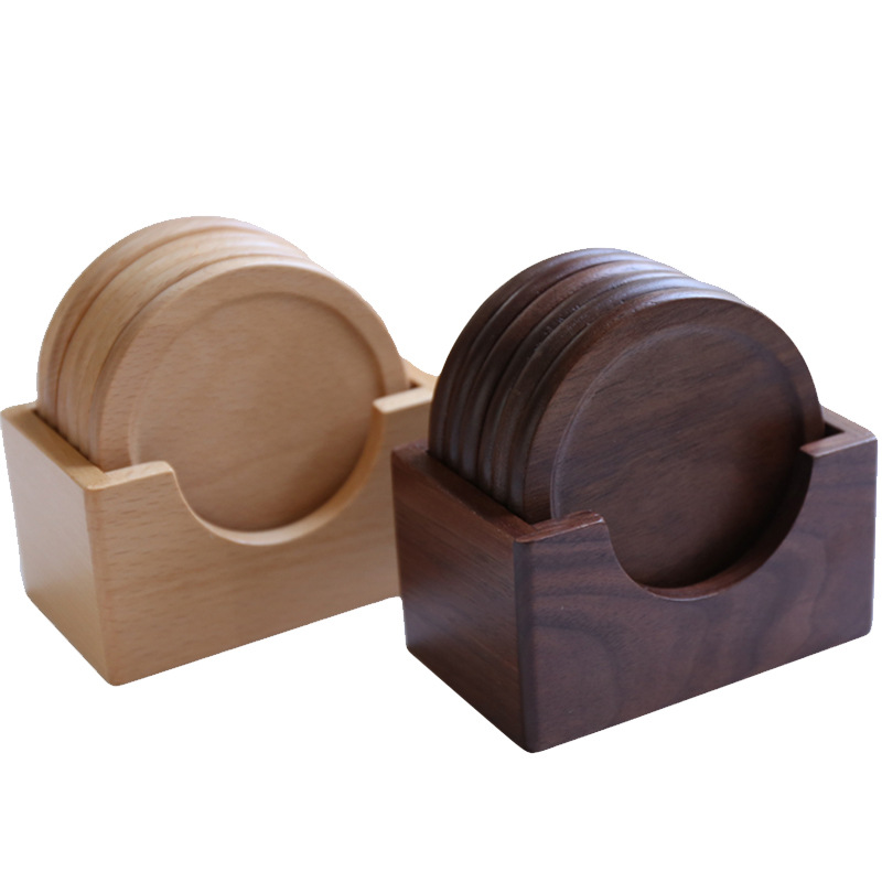 High Class Japan Style Black Walnut Table Coaster 7pcs Wood Drink Coasters Set with Holder, Home Office Table table accessories