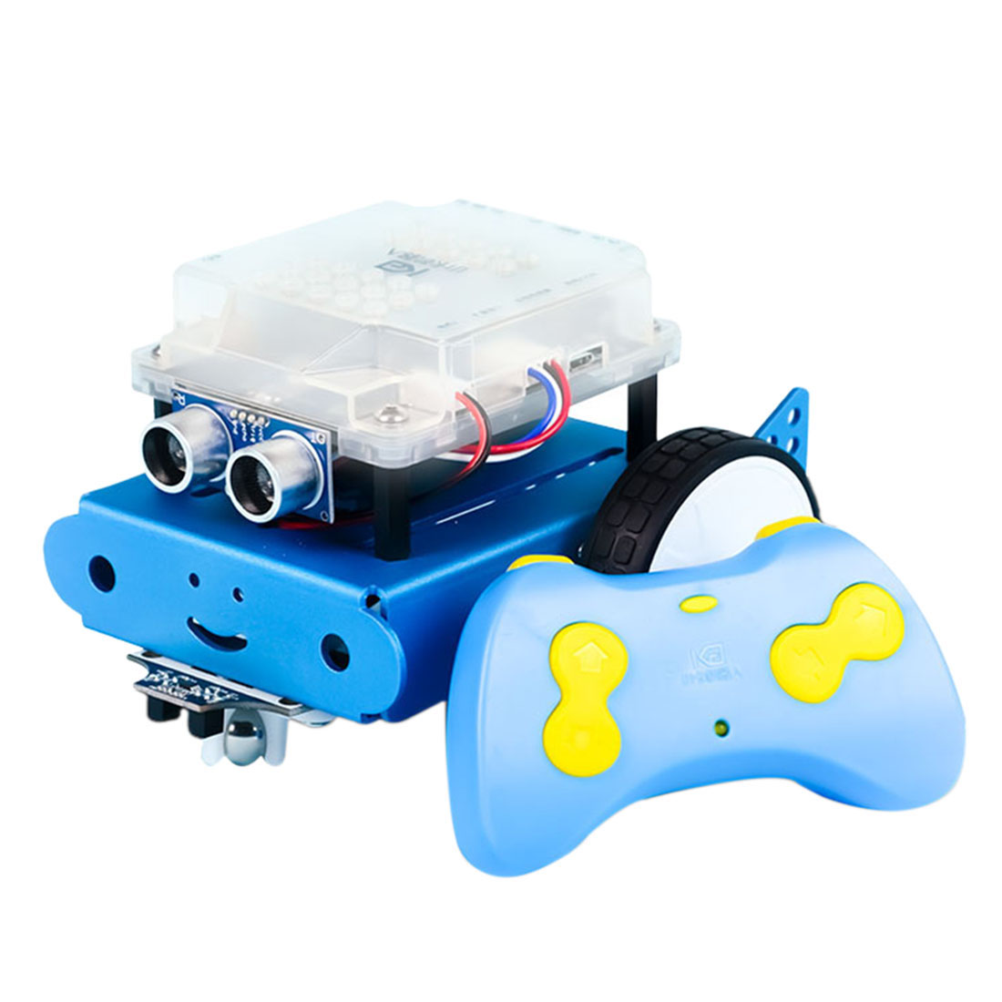 DIY Smart Robot Car Kit APP Control Programming Obstacle Avoidance Line-Tracking Ultrasonic Sensor - Blue
