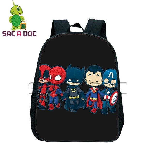 2b9014e5f955 Chibi Batman Superman Spider-man Printing Backpacks Boys Girls School Bags  Children Super Hero Book