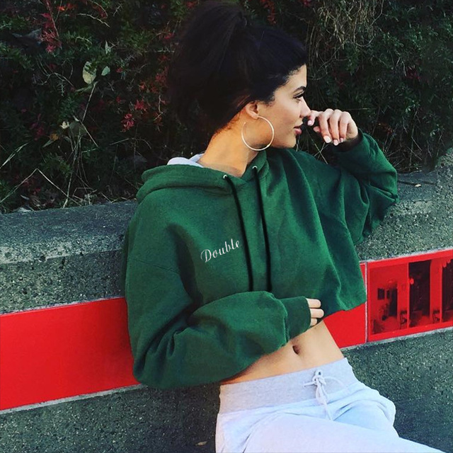 DOUBLE Letter Embroidery Cropped Hoodies Sweatshirt 3