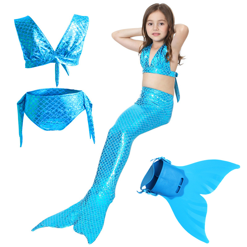 Mermaid Tails Costume Child Kids Halloween Cosplay Girls Swimsuit Mermaid Tail with Monofin Fin Children Dress