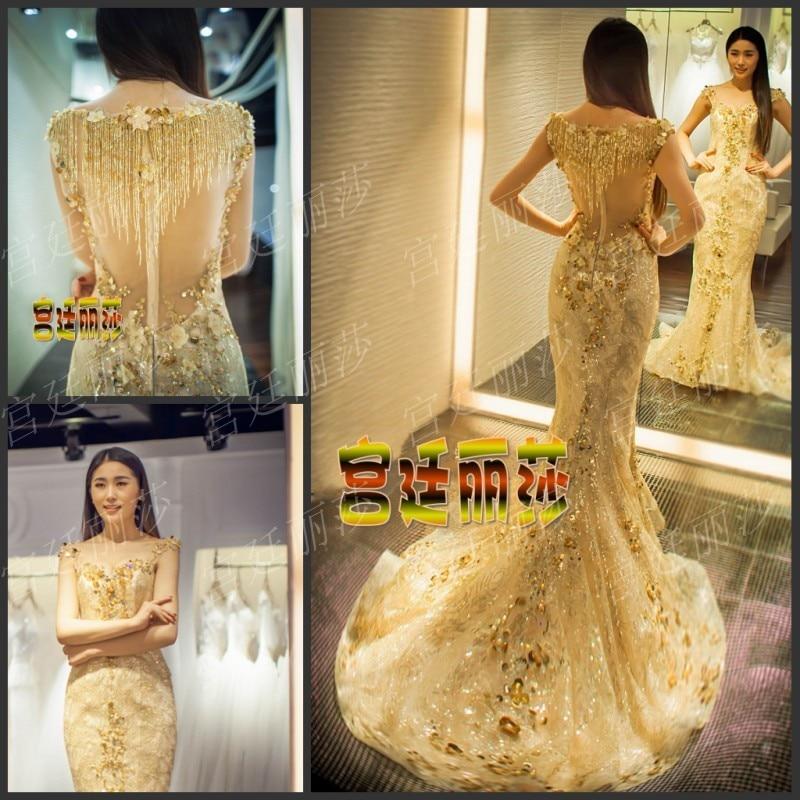 Gold lace prom dress-7930