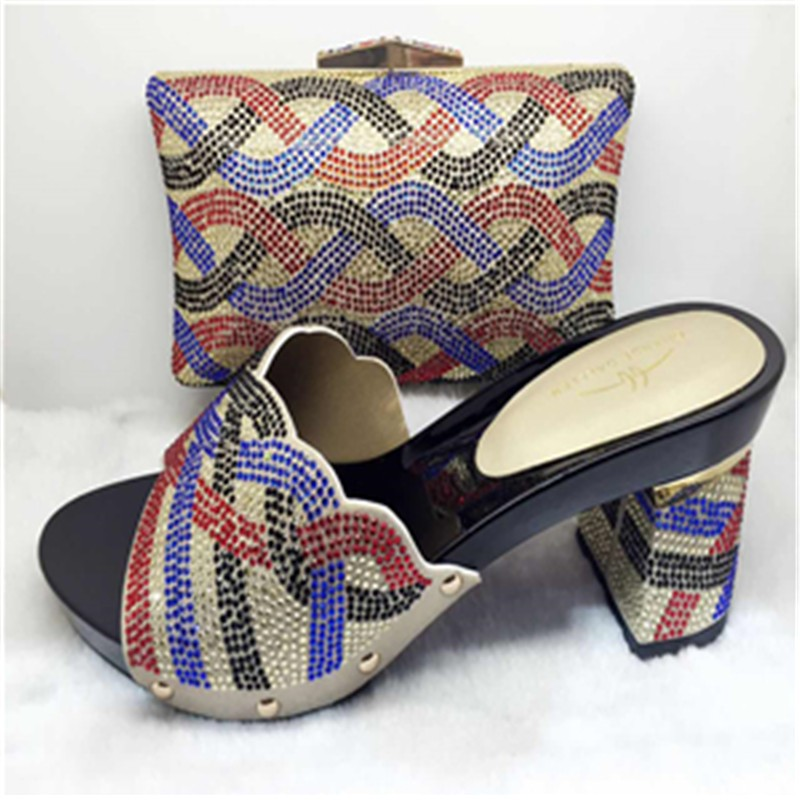 New Italian Shoe With Matching Bag Set Decorated With Stones For Party African font b Women