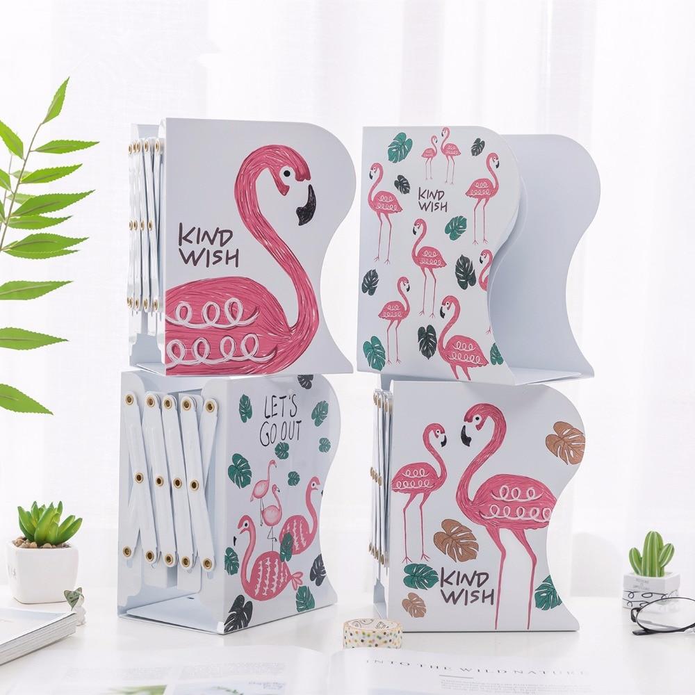 Creative Fashion Telescopic Flamingo Design Bookshelf Large Metal Bookend Desk Holder Stand for Books Organizer Gift Stationery books holder stand desk heavy duty nonskid bookend modern design magazine organizer file keeper office
